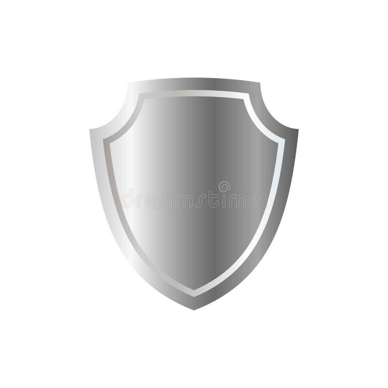 银盾形状象 3D在白色背景隔绝的灰色象征标志 安全,力量,保护的标志 荒地 皇族释放例证