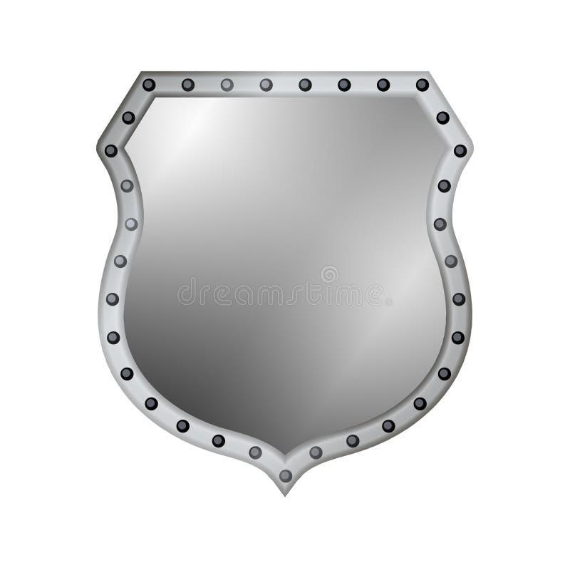银盾形状象 3D在白色背景隔绝的灰色象征标志 安全,力量,保护的标志 荒地 向量例证