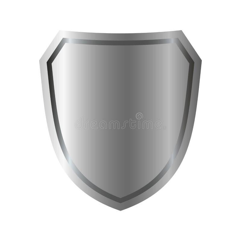 银盾形状象 3D在白色背景隔绝的灰色象征标志 安全,力量,保护的标志 荒地 库存例证