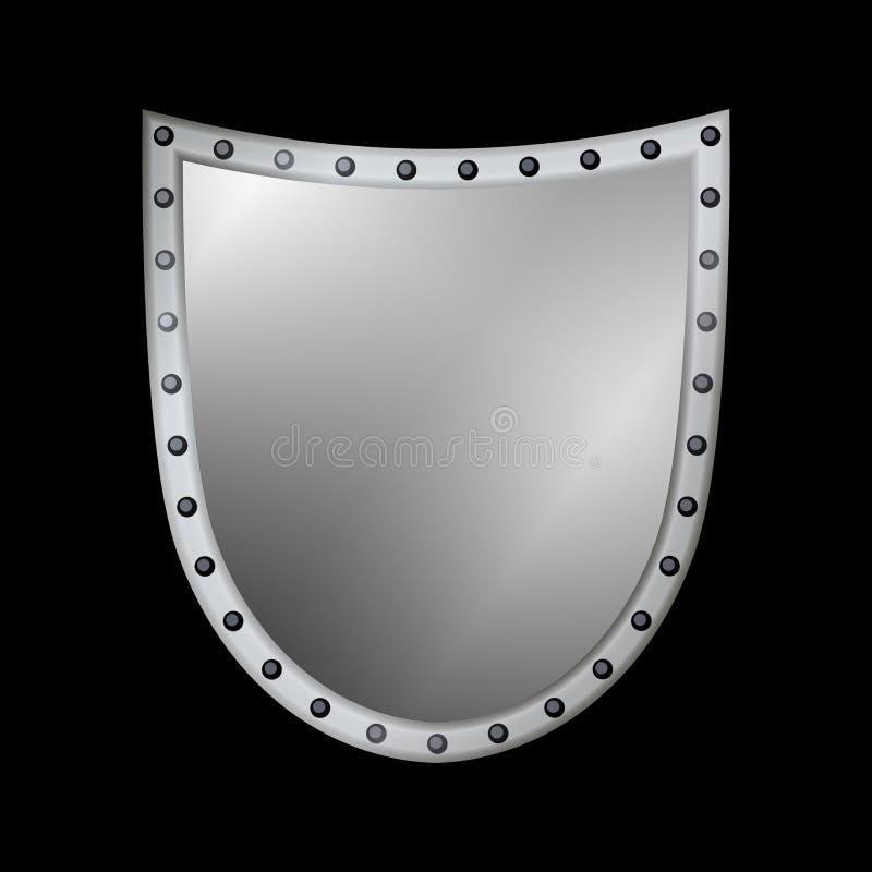 银盾形状象 3D在黑背景隔绝的灰色象征标志 安全,力量,保护的标志 荒地 库存例证