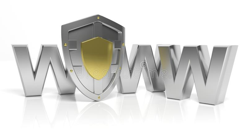 银盾标志和万维网信件 库存例证