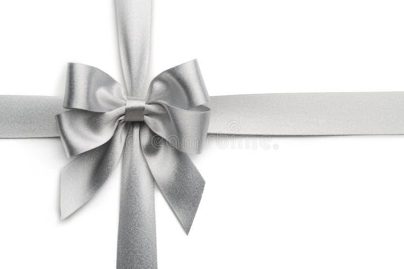银色丝带弓 免版税库存图片
