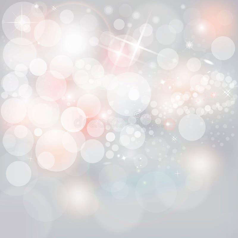 银色光&星在中立灰色圣诞节假日背景 免版税库存图片