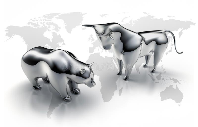 银色公牛和涉及白色背景 免版税库存照片