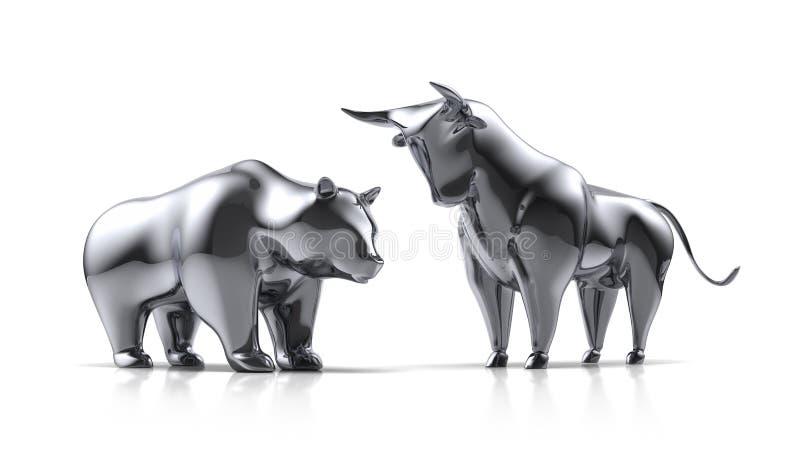 银色公牛和涉及白色背景 向量例证
