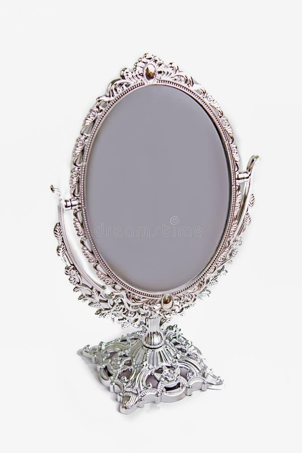 银色古色古香的镜子孤立 免版税库存图片