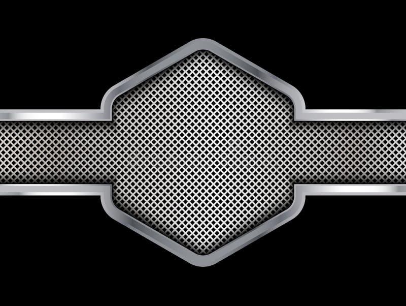 银色和黑金属背景 抽象向量例证 库存例证