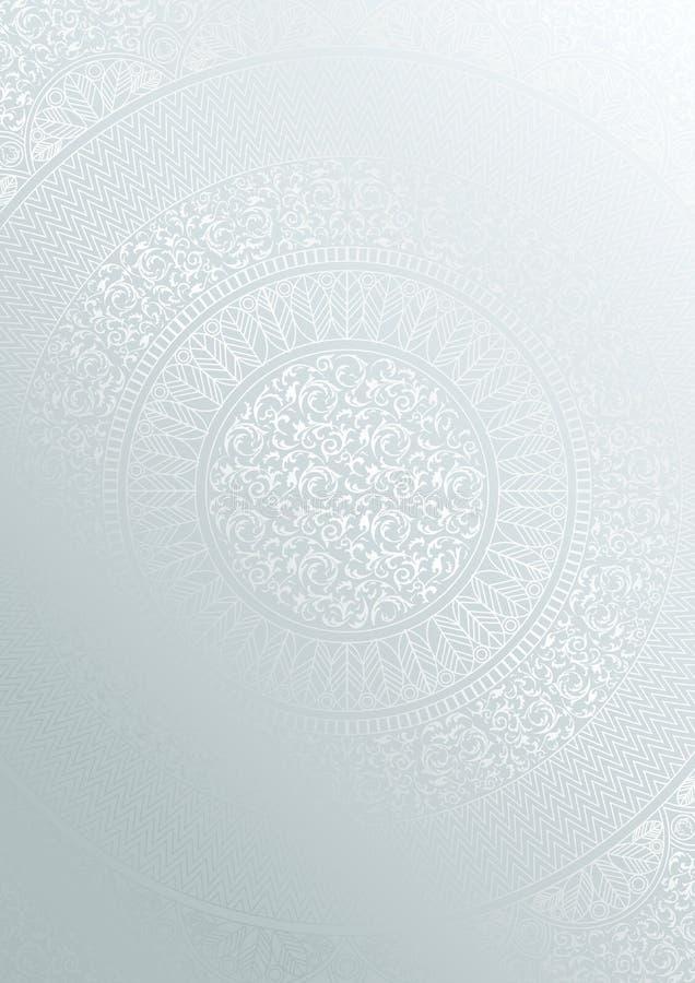 银色圆的花卉样式梯度颜色 葡萄酒盖子设计模板 传染媒介坛场海报软的详细的背景 库存例证