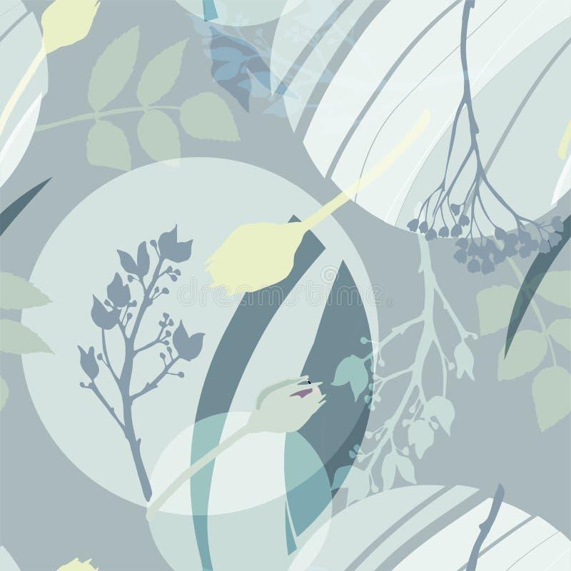 银色圈子,绿色,金黄,灰色花和叶子 在灰色绿的颜色的抽象花卉样式 无缝的模式 库存例证