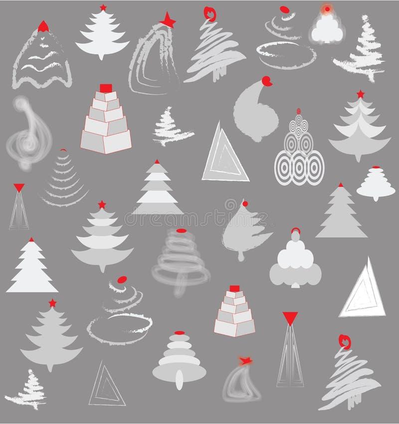 银色圣诞树 库存例证