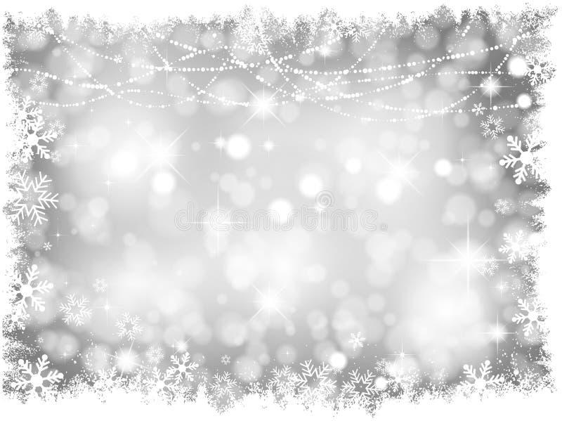 银色圣诞灯背景 库存例证
