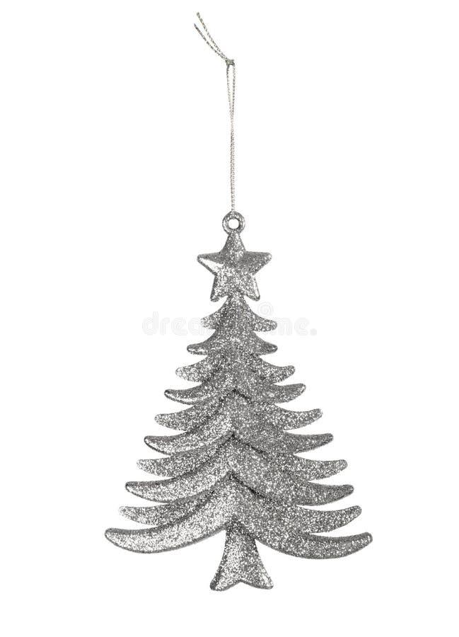 银色圣诞节玩具树 免版税库存图片