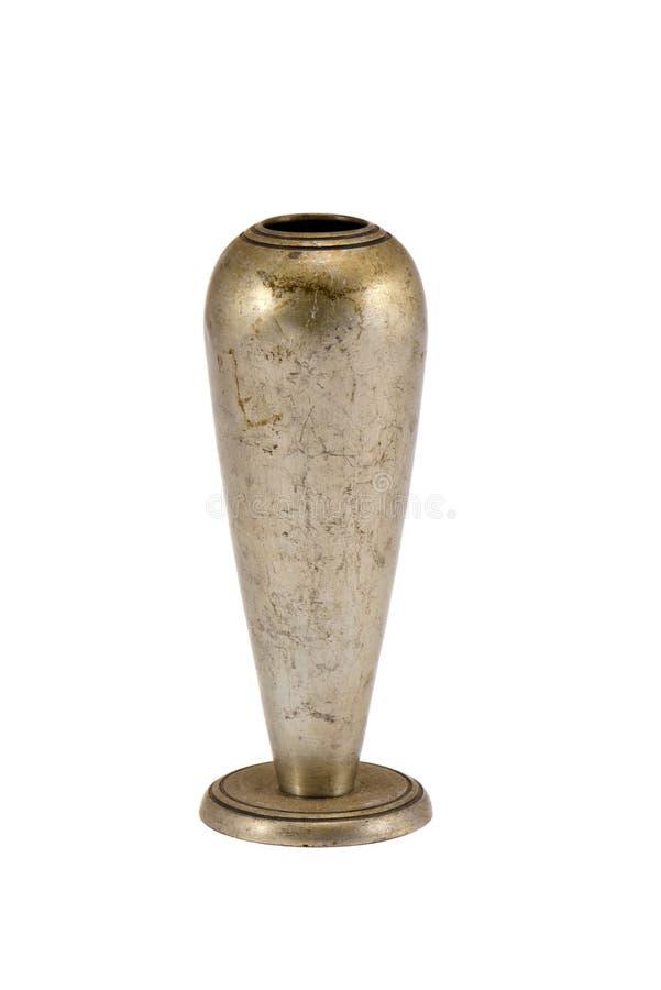 银色在白色查出的金属空的烛台 库存图片