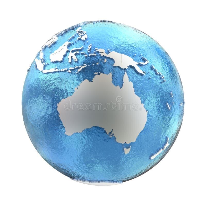 银色地球上的澳大利亚 向量例证