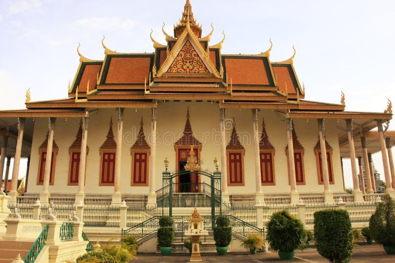 银色塔,皇宫,金边,柬埔寨 免版税库存照片