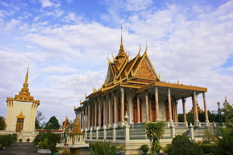银色塔,皇宫,金边,柬埔寨 库存照片