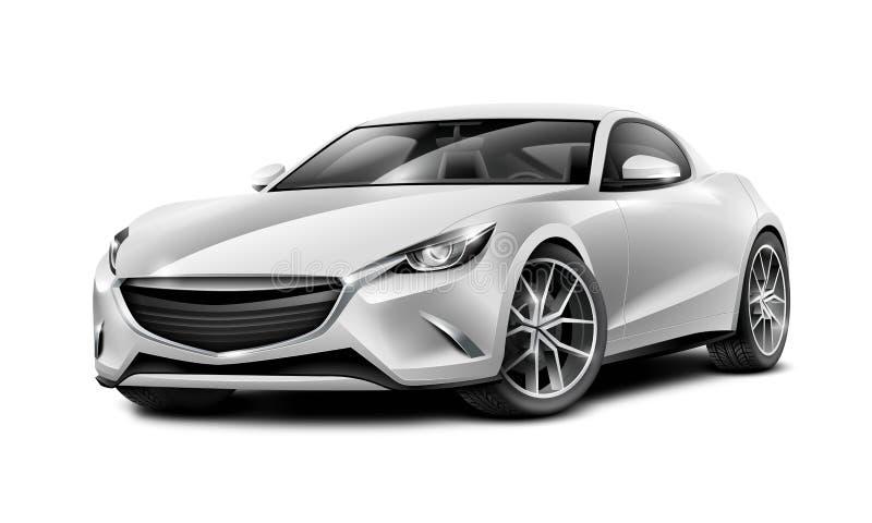 银色小轿车运动的汽车 有光滑的表面的普通汽车在白色背景 皇族释放例证