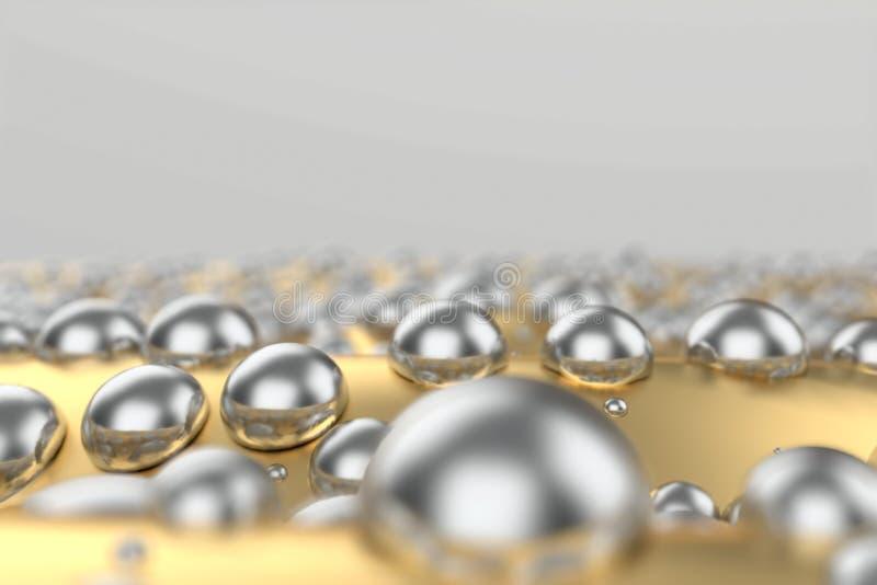 银色或人造白金在金属黄色的白金球形挥动背景 塑造3d例证 财富富有的采矿 向量例证