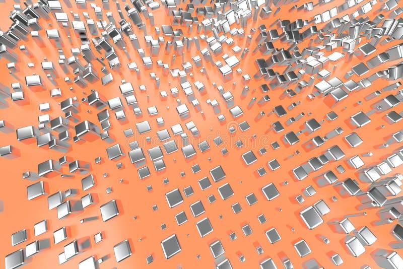 银色或人造白金白金在浅粉红色的橙色波浪背景的块立方体 塑造3d例证 财富富有 库存照片