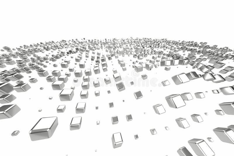 银色或人造白金白金阻拦在白色背景的立方体 塑造3d例证 财富富有的采矿bitcoin 库存例证