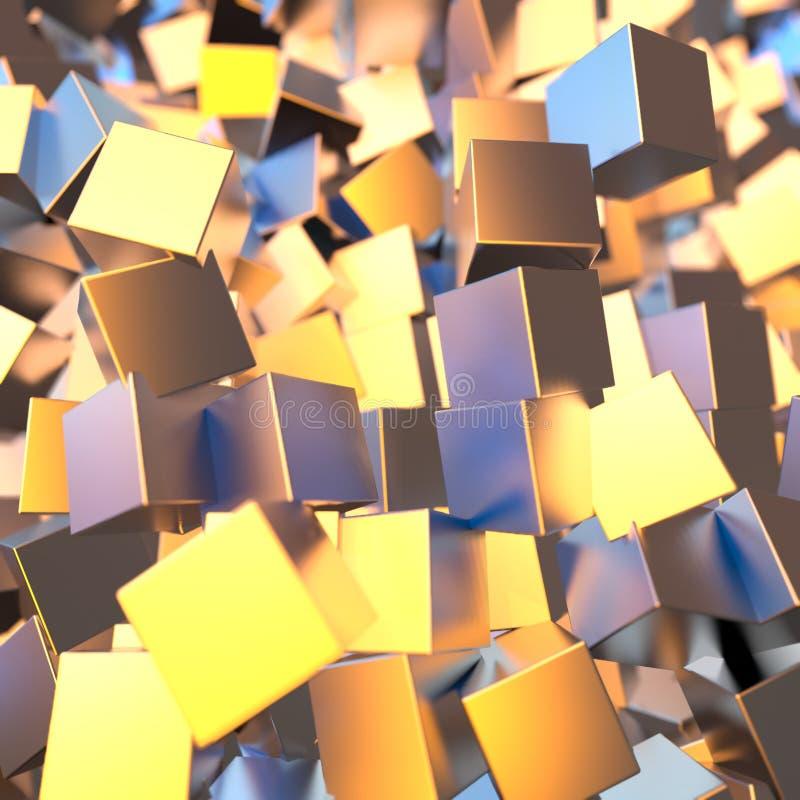 银色或人造白金白金阻拦立方体背景 塑造3d例证 财富富有的采矿bitcoin概念 库存例证