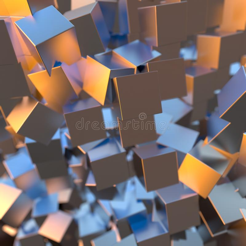 银色或人造白金白金阻拦立方体背景 塑造3d例证 财富富有的采矿bitcoin概念 皇族释放例证