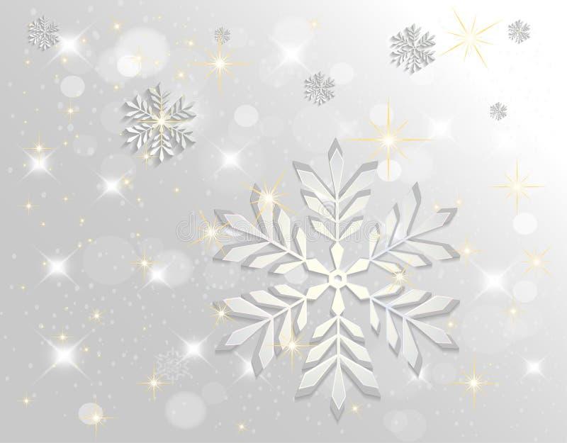 银色抽象雪花落的冬天圣诞节假日背景 皇族释放例证