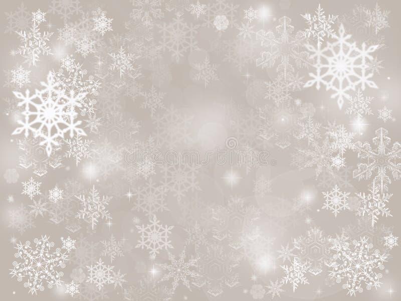 银色抽象bokeh雪落的冬天圣诞节假日背景 库存图片