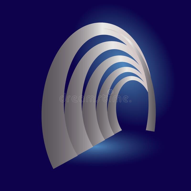银色拱廊隧道 向量例证