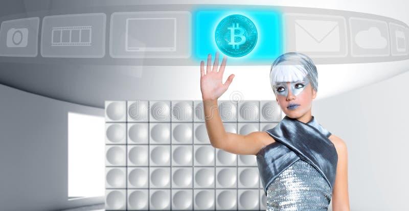银色接触手指屏幕的未来派Bitcoin BTC女孩 免版税库存照片
