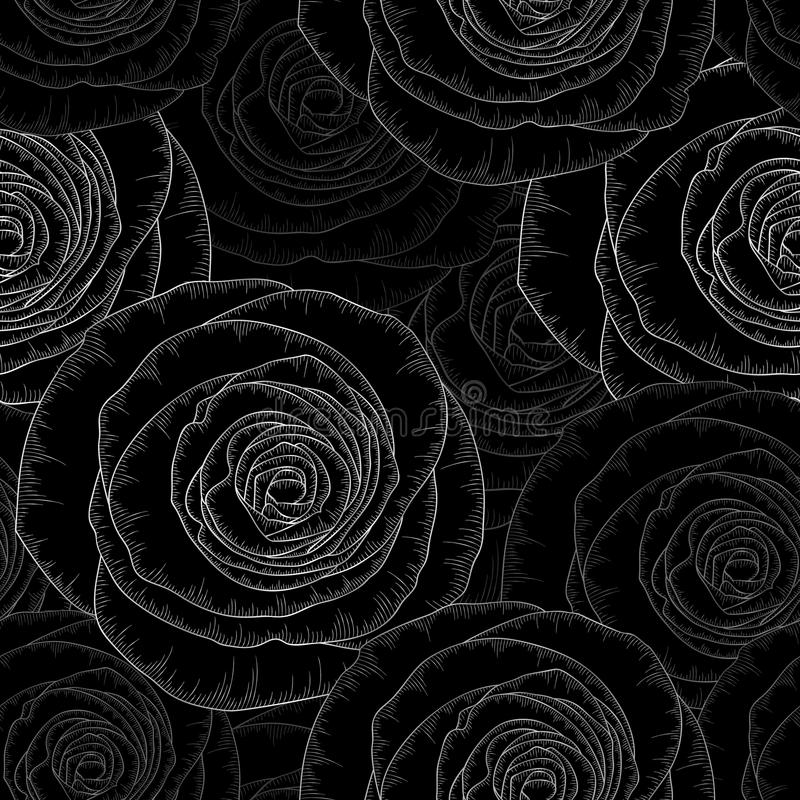 银色无缝的与金黄花玫瑰的手图画花卉背景 也corel凹道例证向量 皇族释放例证