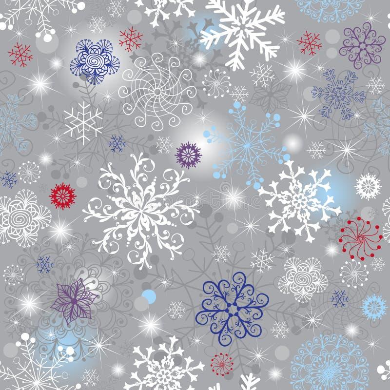 银色无缝的圣诞节样式 向量例证