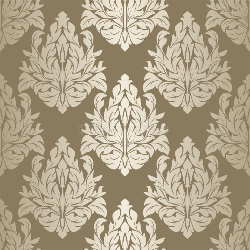 银色无缝的锦缎花卉墙纸 库存例证