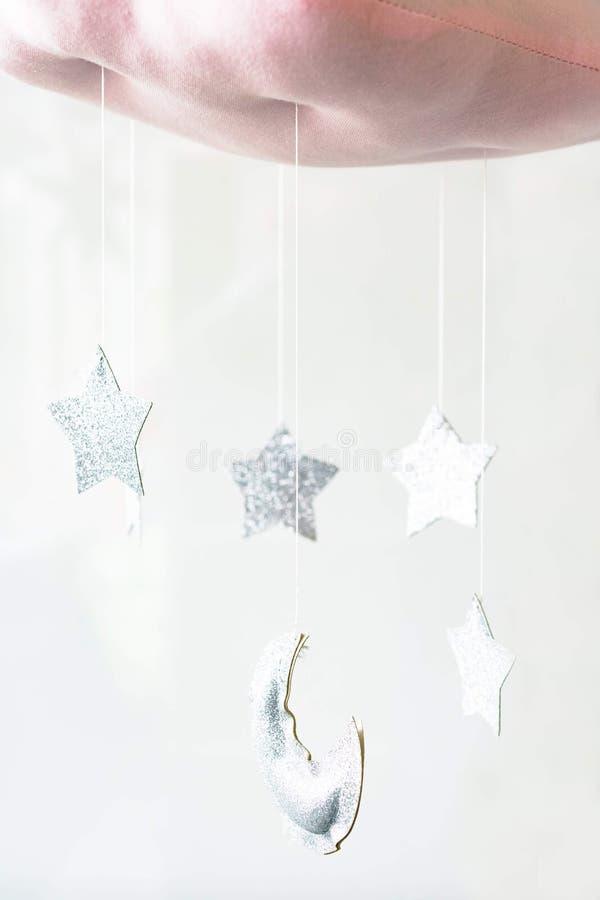 银色星和月亮 库存照片