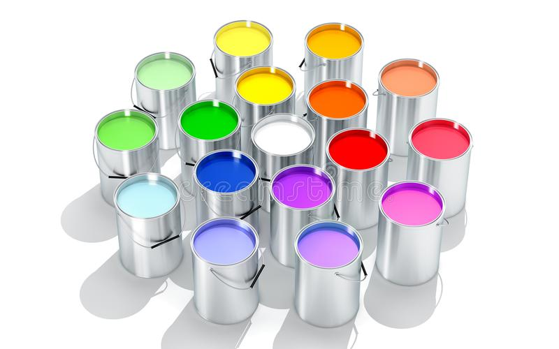 银色油漆用桶提-三原色圆形图- 3D翻译 库存照片