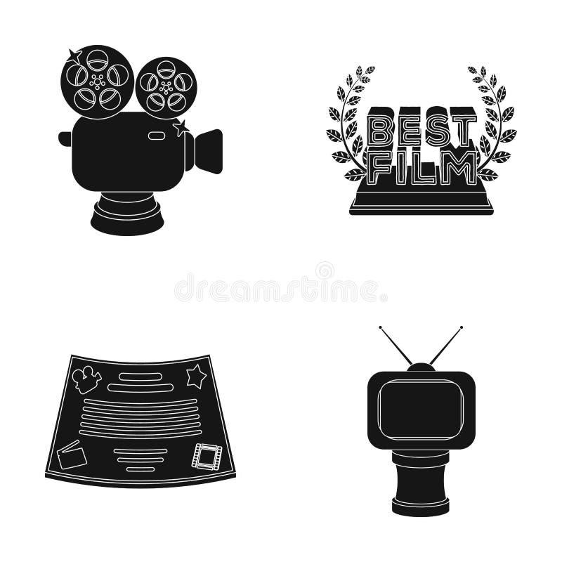 银色照相机 以电视的形式一个古铜色奖和奖的其他类型 电影奖, sset在黑色的汇集象 向量例证