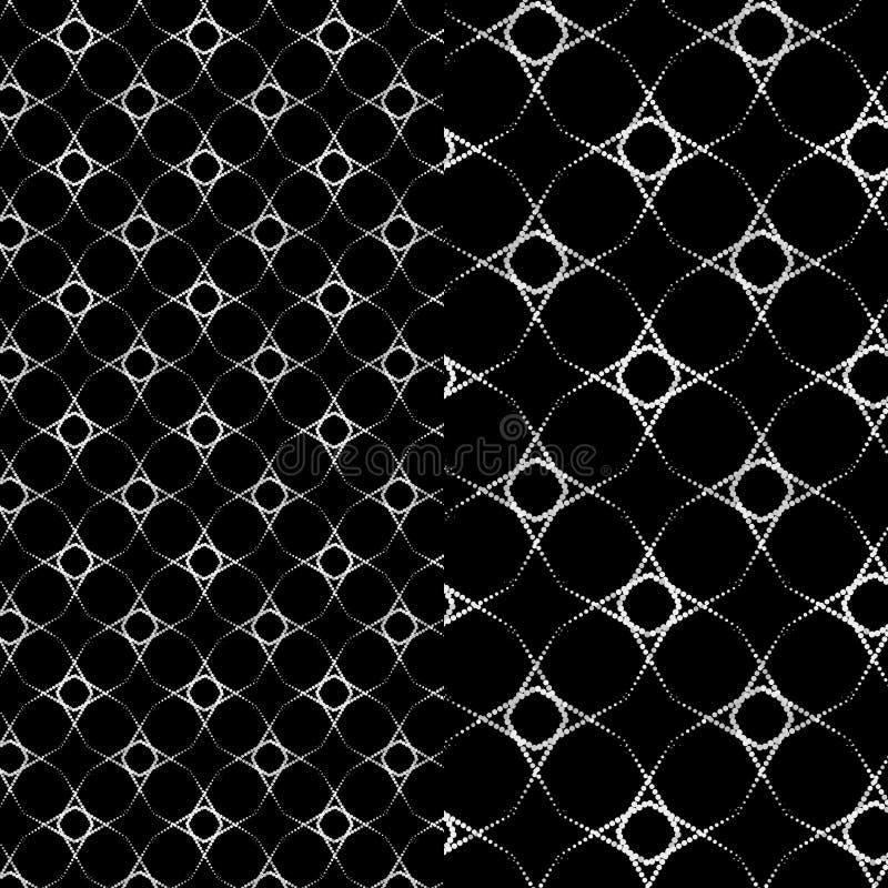 银色特征模式 在黑背景的银色串珠的星 蔓藤花纹设计 向量例证