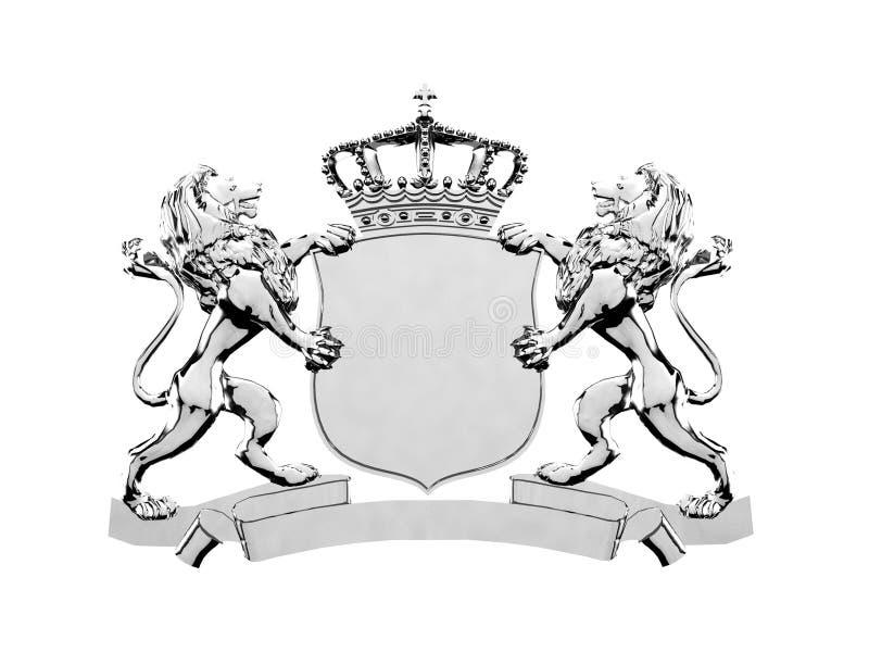 银色狮子冠横幅 库存例证