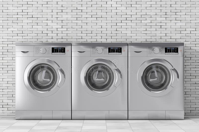 银色现代洗衣机行  3d翻译 库存例证