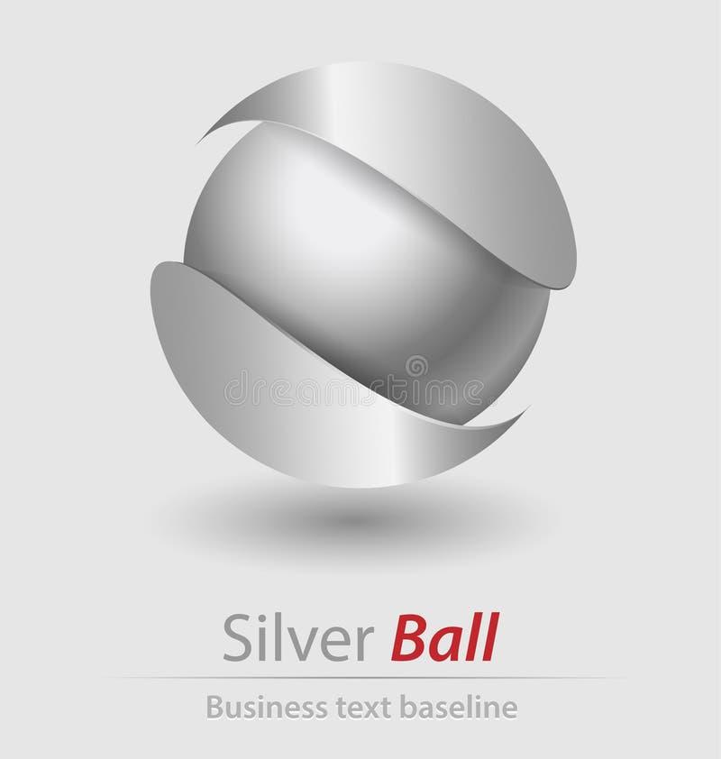 银色球典雅的传染媒介商标/象 向量例证