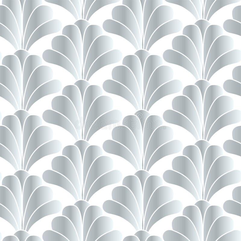 银色白色装饰艺术运动Gatsby样式花卉几何无缝的样式背景设计 皇族释放例证