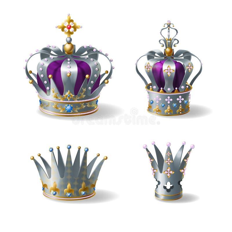 银色皇家冠3d现实传染媒介集合 向量例证
