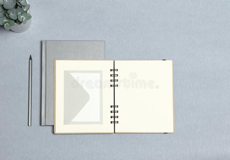 银色笔记本,打开了笔记本,白色信封,银色铅笔,灰色背景的绿色植物 免版税库存图片