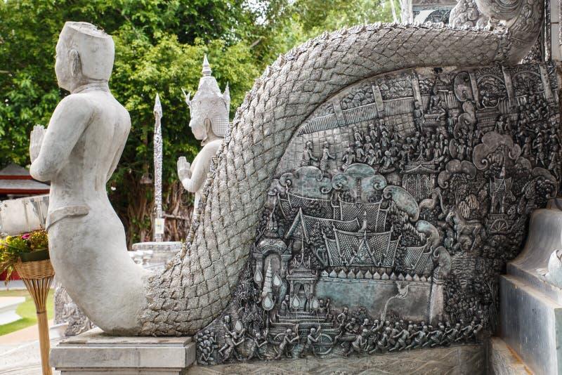 银色艺术雕塑在泰国 免版税库存图片