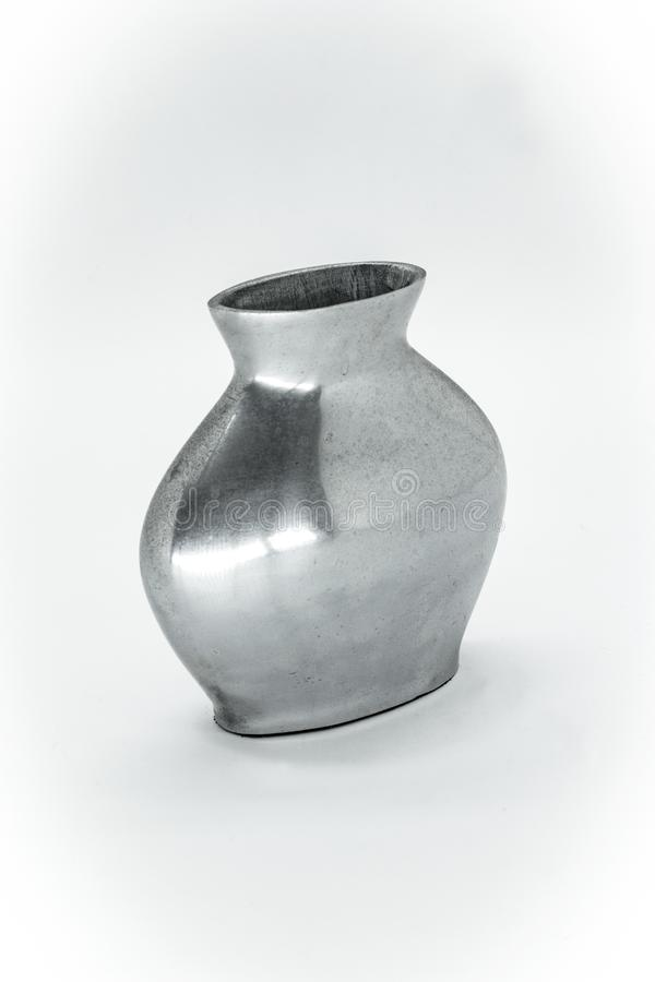 银色花瓶植物 免版税库存图片