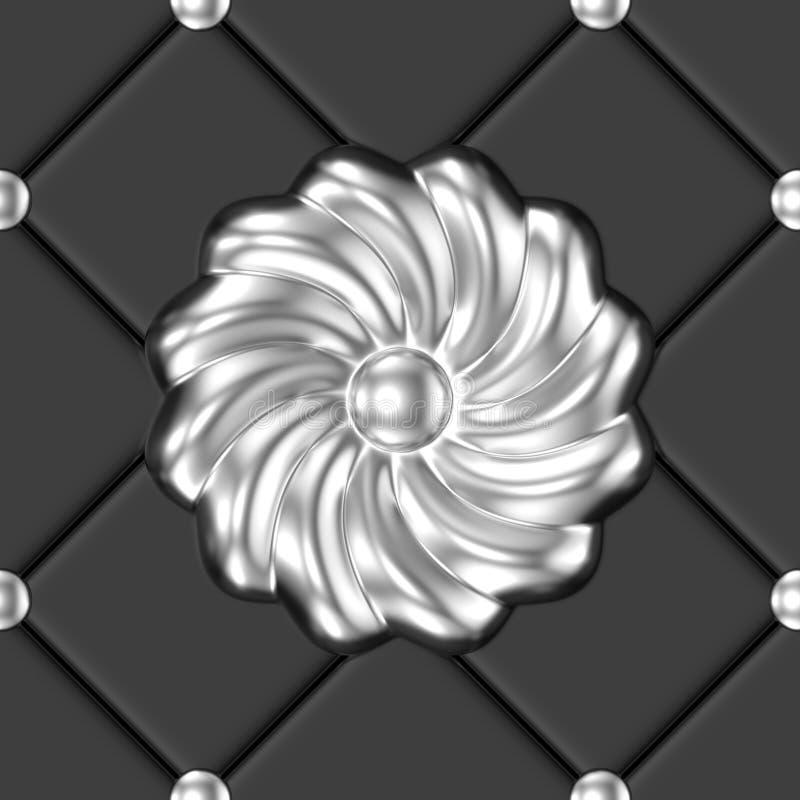 银色花饰无缝的样式 库存例证