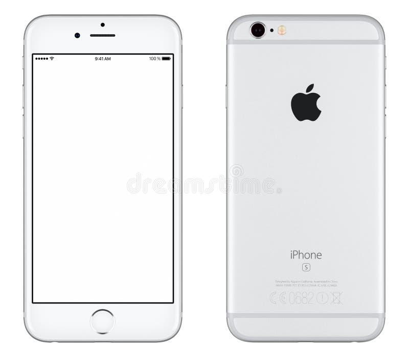银色苹果计算机iPhone 6s大模型正面图和后部 库存照片
