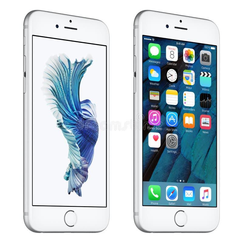 银色苹果计算机iPhone 6s有一点转动了与iOS 9的正面图 库存例证