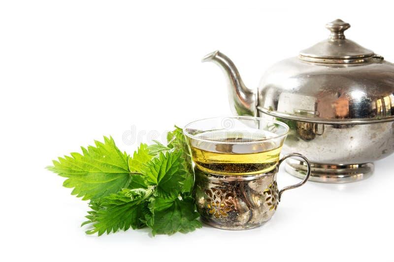 银色茶壶和葡萄酒杯子用荨麻茶和某一新鲜的地方教育局 库存照片