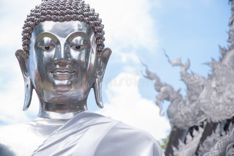 银色菩萨雕象,清迈,泰国 免版税库存图片